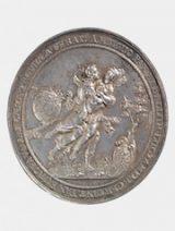Medaille mit Friedenswünschen aus dem Jahr 1644 von Sebastian Dadler. Germanisches Nationalmuseum, Münzkabinett, Med Merkel 1.6.1.